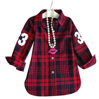 2016 New Fashion Children Girls Casual Long Sleeves Red Plaid Shirt Blouse Baby Girls Plaid Cotton Clothes Girls Wear