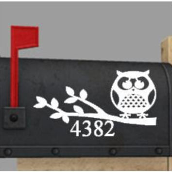 Owl Mailbox Number Vinyl Decal