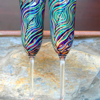 Peacock Feather Wedding Toasting Flutes