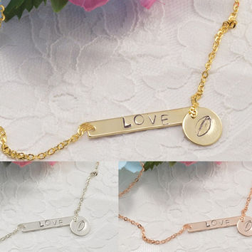 Football Ball Personalized Bar Disc Coin Necklace Bracelet Anklet Delicate Hand Stamped Jewelry