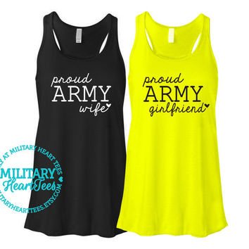 Custom Proud Army Racerback Tank Top, Military Shirt for Wife, Fiance, Girlfriend, Mom, Sister