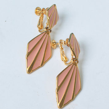 Pink Enameled Napier Earrings Dangle Adjustable Clip Back Vintage