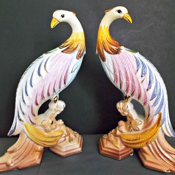 Colorful Vintage Ceramic Bird Figurines from Portugal Pair