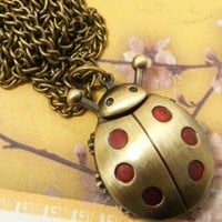 """Ladybug Pendant Watch With 15"""" Chain In Antique Gold Finish"""