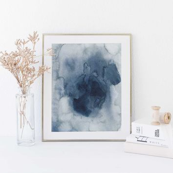 Indigo Abstract Ink Watercolor Art Print