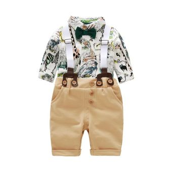 Fashion Casual Newborn Baby Boy Clothes MY First Formal Romper Jumpsuit Bodysuit +Stripe Pants 2Pcs Outfits Animal Printing 24M