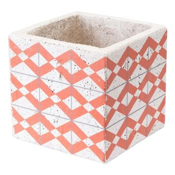 Cement Triangles Planter Orange And Wht