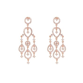 Rose Gold Plated Sterling Silver Dangling Chandelier Imitation Diamond Earrings