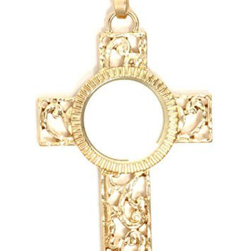 Cross Magnifying Glass Necklace Gold Tone Antique Pendant NT15 Fashion Jewelry