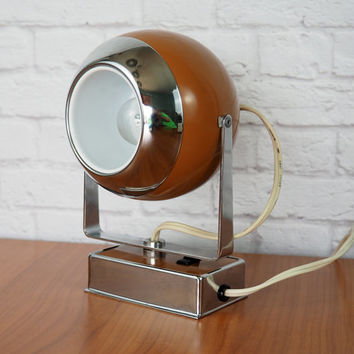 Mid Century Modern Eyeball Swivel Lamp // Hamilton Industries Model H-6 Camel Brown and Chrome // Retro Atomic Office Decor For Him