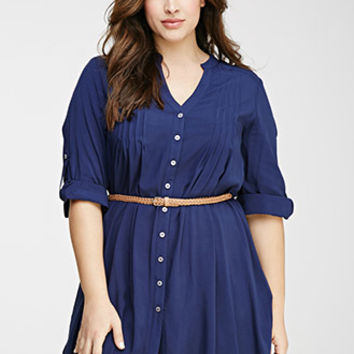 Pintucked Shirt Dress