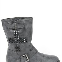 Mid Height Boot with Cross Detail and Buckles