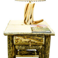 Rustic Reclaimed Lodgepole Pine Log Nightstand