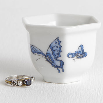 Vintage 80s Porcelain Ring Dish with Blue Butterfly Pattern, White Hexagonal Ring Dish, New with Box