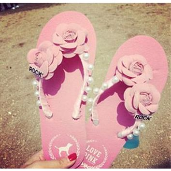 Pink Vacation Beach Sandals Wind Flowers