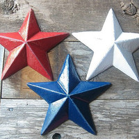 Cast Iron Rustic  Red, White and Blue Wall Hanging Stars/Folk Art/Farmhouse/Texans/USA Olympics