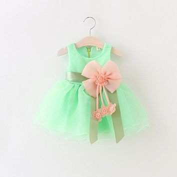 New Style Summer Newborn Baby Tutu Dress Baby Girls Sweet Wedding Party Flower Chiffon Bow Dress Baby Kid New Years Clothing