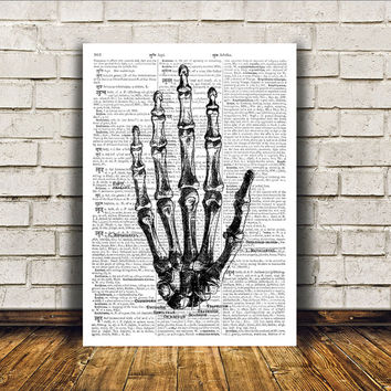 Hand poster Anatomy art Modern decor Dictionary print RTA23
