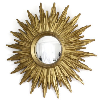 Vintage Gold Sunburst Mirror - Convex Starburst Mirror