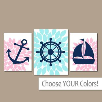 Girl NAUTICAL Nursery Art, Baby Girl Nautical Wall Art, Pink Blue Anchor Wheel Sailboat, Flower Nautical Decor, CANVAS or Prints, Set of 3