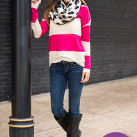 With Love Sweater, Fuchsia/Oat