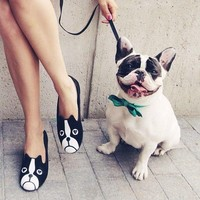 French Bulldog Face Animal Themed Embroidered Ballet Flats for Women in Black