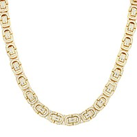 "22"" Byzantine Link Iced Out Gold Finish Men's Custom Silver Chain"