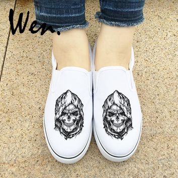 Wen White Black Slip on Canvas Shoes Design Death Skull Sneakers Halloween Gifts Men Women Low Strapless Espadrilles Flats