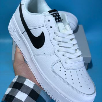 DCCK N587 Nike Air Force 1 AF1 Low Retro Star Breathable Skate Shoes White Black