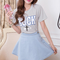 High-Waisted Side Button Denim Skirt