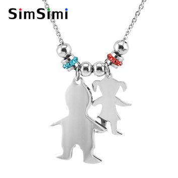 Family son daughter Love S.Steel Lucky birth stones Pendant kids child Boy Girl Charm Necklace personalized print Jewelry Gifts
