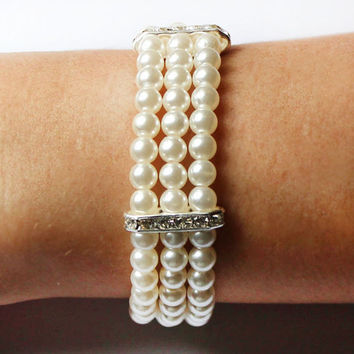 3 Three Strand Pearl Bracelet with rhinestone bridal jewelry bridesmaid bracelet wedding valentine gift for her romantic ivory