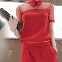 Red Mesh Sleeve Back Button Top and Culotte Shorts