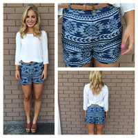Aztec Print High Waist Shorts