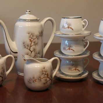 Vintage Japanese Teapot tea pot cup saucer creamer sugar set 15 piece set lot of tea kettle