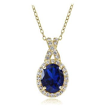 Yellow Gold Flashed Silver Created Blue Sapphire & White Topaz Oval X Necklace