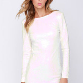 Glamorous Snow Glow White Iridescent Sequin Dress