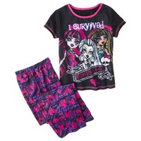 Monster Chic Girls' 2-Piece Short-Sleeve Pajama Set