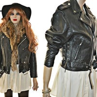 90s Leather Moto Jacket Vintage Side Lace Buckle 38