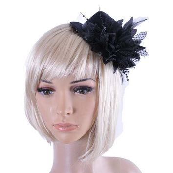 Fashion Lady Hair Fascinator Top Hat Feather Evening Party Dance Party Decorative Cap with Barrette Fedora Hair accessories