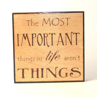 Life wall art  wood pyrography  Important things in by bkinspired