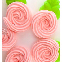 100 count edible sugar flowers/ royal icing flowers (rosettes) and leaves cupcake cake toppers decorations in blush pink and green