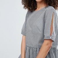Y.A.S Checky Button Back Top at asos.com