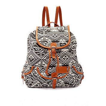 Large Bohemian Jacquard Backpack - Black