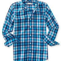 PS from Aero  Kids' Long Sleeve Checkered Plaid Woven Shirt
