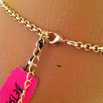 Betsey Johnson Gold biG heart pink crystals & rhinestones longer style necklace