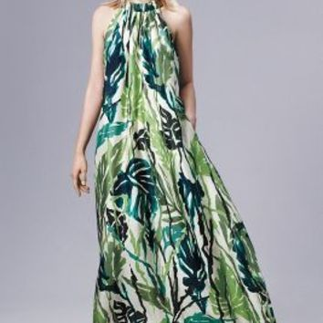 Erika Cavallini Islamorada Silk Dress in Green Motif Size: