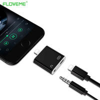 FLOVEME Audio Converter Earphone Headset + USB Charger Adapter Stereo Headphone Splitter Adapters for iPhone 7 Cable Jack