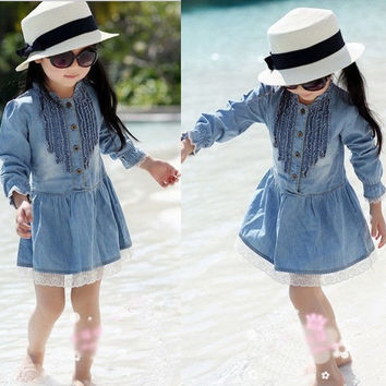 Girl Kids 2-8Y Denim Blue Beautiful Lace Cowboy Clothes Long Sleeve Dress PXL154 = 1929696132