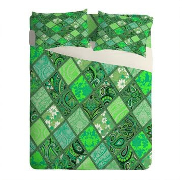 Aimee St Hill Patchwork Paisley Green Sheet Set Lightweight